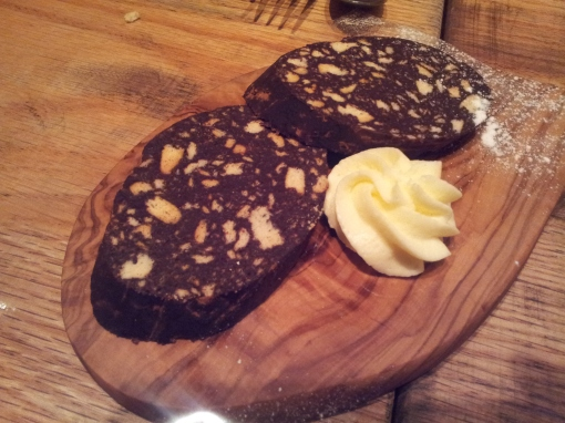 最後個甜品都不錯,但風頭被個芝士和 parma ham 蓋過了! 有無留意到這是一個「parma ham」朱古力蛋糕!