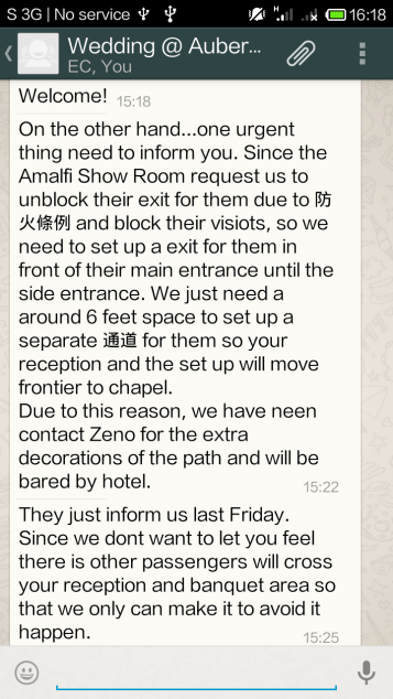 晴天霹靂的 Whatsapp Message