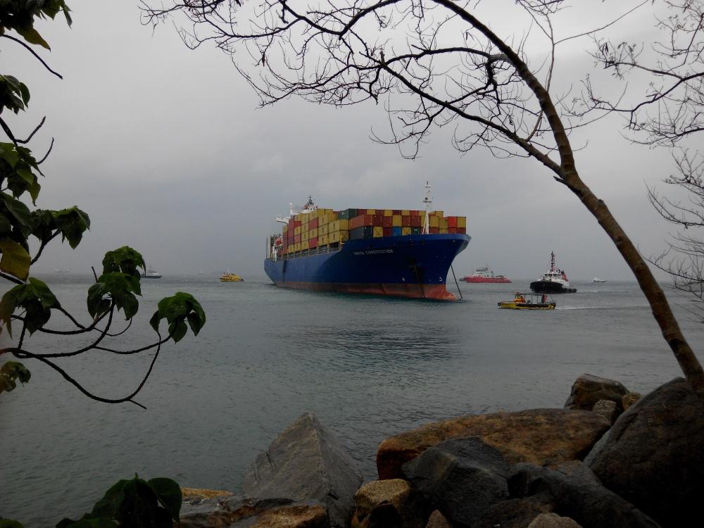近岸看出事的貨櫃輪
