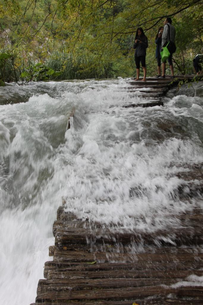 大雨過後湖水仍漲得厲害,附近的木橋都形成了小瀑布