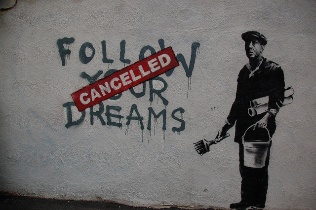 Chris Devers, Banksy in Boston: F̶O̶L̶L̶O̶W̶ ̶Y̶O̶U̶R̶ ̶D̶R̶E̶A̶M̶S̶ CANCELLED, Essex St, Chinatown, Boston