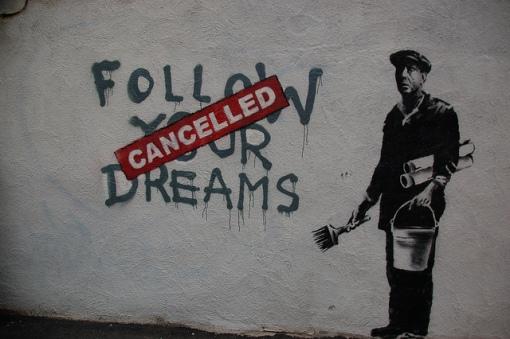 Chris Devers, Banksy in Boston: F̶O̶L̶L̶O̶W̶ ̶Y̶O̶U̶R̶ ̶D̶R̶E̶A̶M̶S̶ CANCELLED, Essex St, Chinatown, Boston
