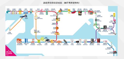 每個港鐵沿線地區都會玩食字送不同的贈品,好有心思