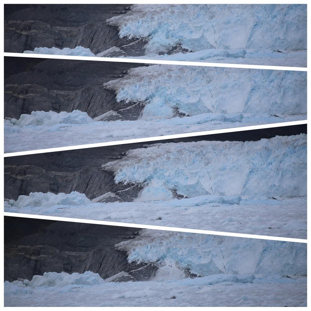 冰山由冰川跌下的連環快拍 (相片正中)